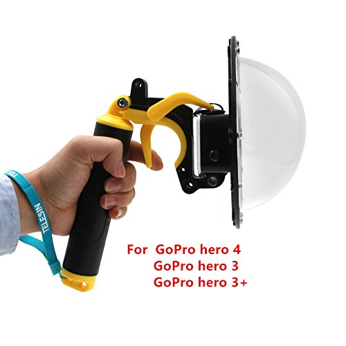 Dome Port für GoPro Hero 4 Hero 3 3+, GoPro Dome Port Unterwassergehäuse Unterwassergehäuse für GoPro Zubehör mit Triggerpistole und Floating Grip Fotografie Kapuze (for GoPro Hero 4 3 3+) -