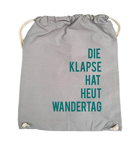 Comedy Bags - DIE KLAPSE HAT HEUT WANDERTAG - Turnbeutel - 37x46cm - Farbe: Schwarz / Pink Hellgrau / Tuerkis