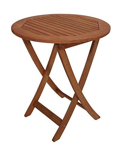 Klapptisch, Gartentisch, Gartenklapptisch, Terrassentisch, Balkontisch, rund, klappbar, Eukalyptusholz, Echtholz, Holztisch, geölt