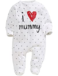SODIAL(R) baby clothing unisex baby rompers printed with love mummy clothes foot cover I LOVE MUMMY 70CM