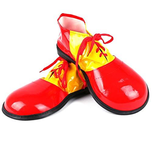 Herren Clown Schuhe, One Size, Gelb und Rot Perfekt für Karneval, Halloween oder Themenpartys(Einheitsgröße Rot) ()