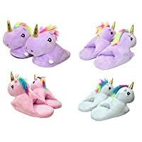 HTUK® Children Unicorn Slippers Plushed Stuffed Unicorn Slippers Unisex Boys Or Girls One Size 23CM Lenght Super Soft Slippers 3 Colours Fits Upto 13 Years Old by