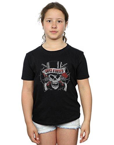Guns N Roses niñas Distressed Death's Head Camiseta 9-11 Years Negro