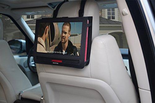 WONNIE Auto Kopfstützenhalterung für Drehgelenk & Flip Tragbarer DVD Player KFZ Kopfstütze Halterung Gehäuse (Black) (10.5 inch) - 3