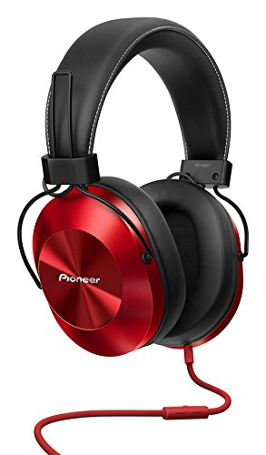 Pioneer Over-Ear Kopfhörer, SE-MS5T-R, High-Res Audio Wiedergabe, Freisprechfunktion, hoher Tragekomfort, hohe Klangqualität, für Smartphone, Tablet, Hifi Anlage, Aluminium Design, Rot, 1500274