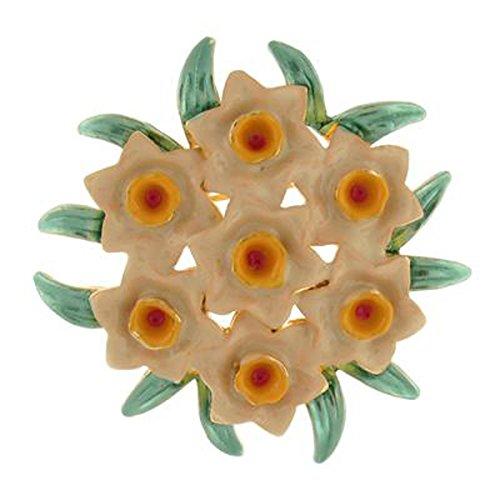Brooches Store Brosche Weihnachtsblumenkorb Emaille sieben Narzisse Brosche Ansteckblume Bouquet