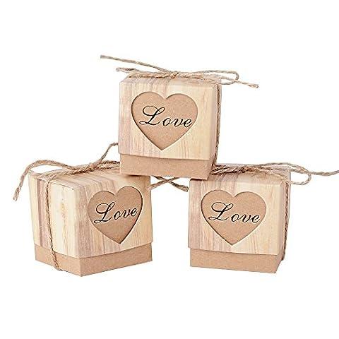 (5*5*5cm)100pcs Boîte à Dragées Bonbonières Coeur Vintage Papier Kraft avec Corde Décoration de mariage Fête Baptême