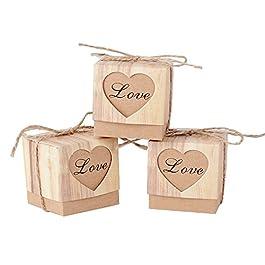 100pz Scatoline Carta Kraft Cuore Scatole Bomboniere Portaconfetti Segnaposto Matrimonio Battesimo Compleanno Laurea 5*5…