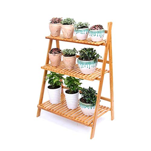 Big seller Blumentreppen 3 Tier Flower Shelf Ladder Blumentöpfe Rack Faltbare bodenstehende Display-Regal für Garten Balkon Display Rack (Size : L 50cm) - 3-tier-ladder Regale