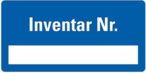 LEMAX® Inventaretikett Inventar-Nr,blau,Dokumentenfolie,Spezialkleber,40x20mm,16/Bogen