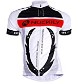 Men's Bike Sports Garment Summer Short Sleeve Cycling Jersey Top (White/Black)