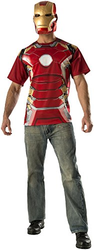 Iron Man and Mask T-Shirt Mens Fancy Dress Avengers Superhero Ultron Adult Costume