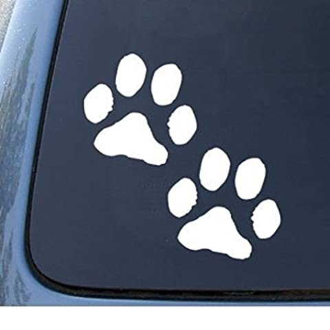 Dog Paws Decal Vinyl Sticker|Cars Trucks Walls Laptop|WHITE| 5.5 In|KCD399