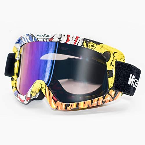Wolfbike occhiali da sci moto, uomo donna maschera da snowboard con uv400 protezione antivento neve specchio goggles (cornice colorata/lente colorata)