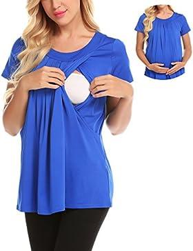 46be8d506213 zhenwei Premaman T Shirt da Donna maternità Infermieristica Allattamento  Top Doppio Strato Maglietta