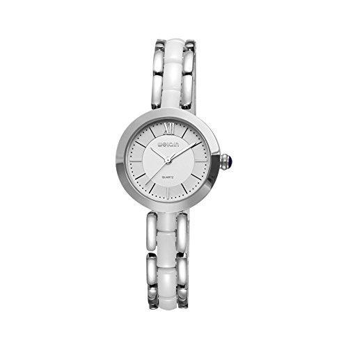 DAZHE Militäruhren Quarz Armbanduhren, WEIQIN Fashion Watch Frauen Rose Gold Weiß Keramik Armbanduhr (Color : 2)