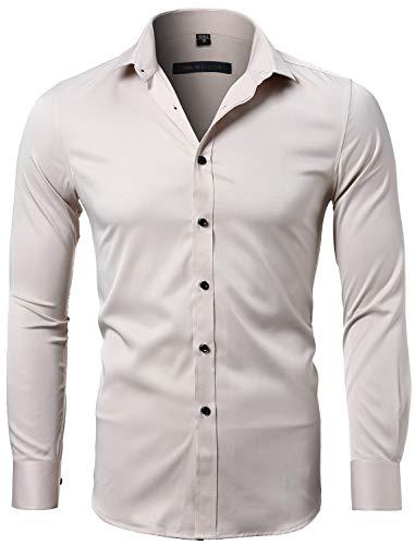 Harrms camicia elastica di bambù fibra per uomo, slim fit, manica lunga casual/formale, beige, 41 (collo 41cm, petto 108cm)