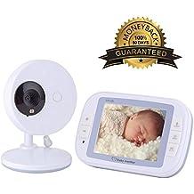 EtekStorm 3.5 '' Video Baby Monitor (2018 ACTUALIZADO más nuevo) Con cámara digital, charla bidireccional, visión nocturna por infrarrojos, 4 canciones de cuna, monitoreo de temperatura, batería de alta capacidad y largo alcance.
