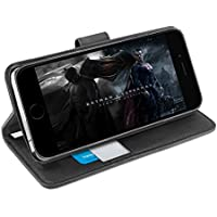 Funda iPhone 8 Plus, Orzly® - Funda Multifunción para iPhone 8 PLUS/iPhone 7 PLUS - Multi-Functional Wallet Stand Case - funda/billetera con tarjetero, soporte integrado y cierre magnético en NEGRO