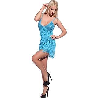 Anladia Damen Fransen Kostüm, Pailletten Charleston 20er Jahre Kleider Party Tanzkleid Charleston Festlich Damenkostüm