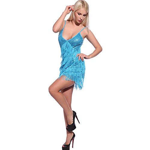 Anladia Damen Fransen Kostüm, Pailletten Charleston 20er Jahre Kleider Party Tanzkleid Charleston Festlich Damenkostüm, L, Sequin-blau