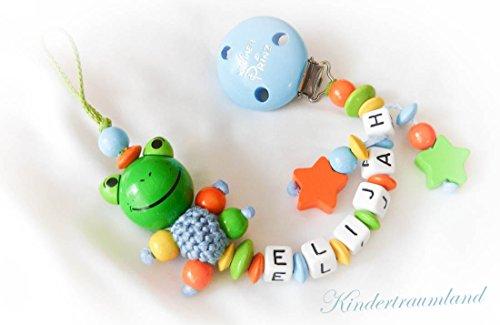 Baby Schnullerkette für Jungen mit Wunschnamen - Kinder - Geschenk zur Geburt, Taufe, Babyparty - (Frosch, Hellblau, Orange, Grün)