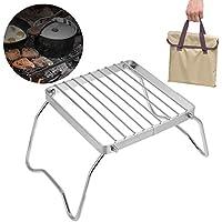 VGEBY Faltbarer Grill Grillplatte Grill Holzkohle-Zusammenklappbar Leicht Tragbar Edelstahl für Picknick Wandern Camping–Silber