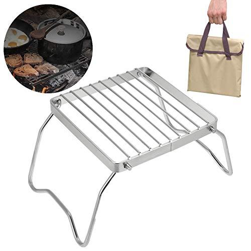 Vgeby griglia da barbecue pieghevole griglia a carbone di legno pieghevole leggero portatile in acciaio inox per picnic trekking campeggio–argento
