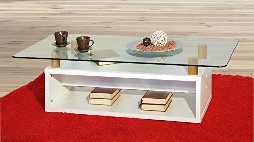 Couchtisch / Wohnzimmertisch, in Weiß (matt) mit Glasplatte Möbeldesign Team 2000 1176 -