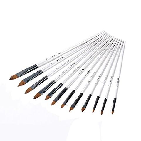 TFboys 12pcs Nylon cheveux peinture à l'huile brosse stylo gouache brosse acrylique eau brosse pour les enfants artistes