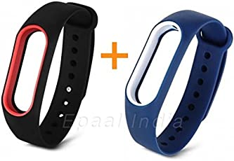 Epaal Xiaomi Mi Band 2 & Mi HRX Band Dual Color Wearable Wristband Smartband Strap Silicone Case (Combo: Deep Blue - White line + Black - red line)