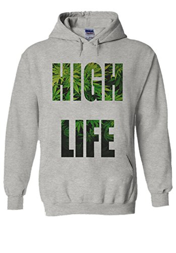 High Life Weed Drug Funny Novelty Grey Men Women Unisex Hooded Sweatshirt Hoodie-S