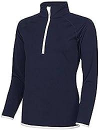 AWDis Women's Girlie Cool ½ Zip Sweatshirt CoolFit Blended Fabric 87% Polyester, 13% Elastane