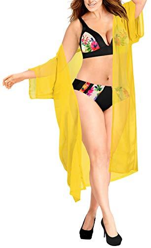 LA LEELA Damen Lange Plain Beach Kimono Cardigan Strand Chiffon Bluse Tops Bikini Cover up Gelb_A705 DE Größe: 42 (L) - 52 (4XL) -