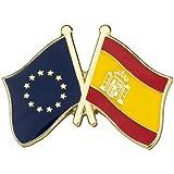 Pin de Solapa Bandera de la Unión Europea y Bandera de España | Pines Originales Para Regalar | Para las Camisas, la Ropa o p