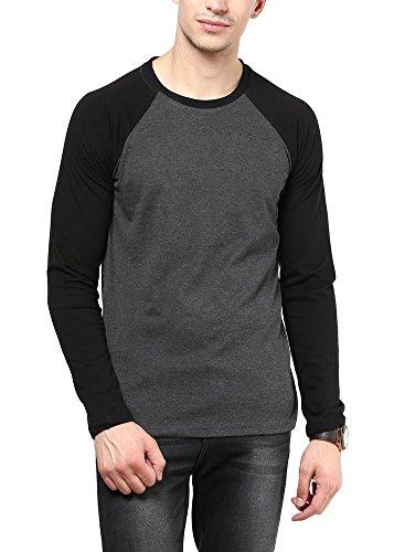 IZINC Men's Cotton T-Shirt(IZINC-CRE_Dark Grey_L)