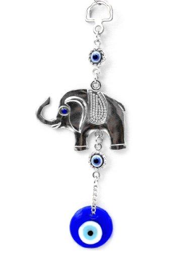 Azul mal de ojo con un elefante de la suerte colgante para protección (con un Betterdecor Pounch) -021
