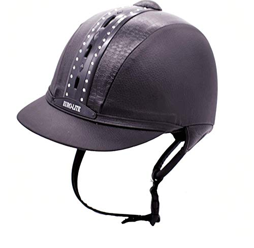TentHome Vintage Horse Riding Hat Helmet Kids Classical Retro Western Equestrian Helmets Leather Rhinestone Decoration (55cm, schwarz)