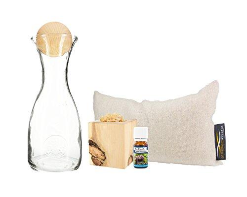 Preisvergleich Produktbild Zirbenerlebnis Geschenksbox: Bio Zirbenkissen (17x29cm) + Zirbenwürfel-Set Inkl. Bio Zirbenöl (10ml) + Zirbenkugel (7cm) + Wasserkaraffe Misura (1 Liter)