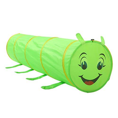 FANCYKIKI Caterpillar Tunnel Spielzelt Kinder Kinder Indoor Outdoor Faltbare Spielzeuge Playhouse Green Kid Kinder Jungen Mädchen Baby für Indoor & Outdoor Spielzeug Faltbare Spielhäuser Zelte mit Tra