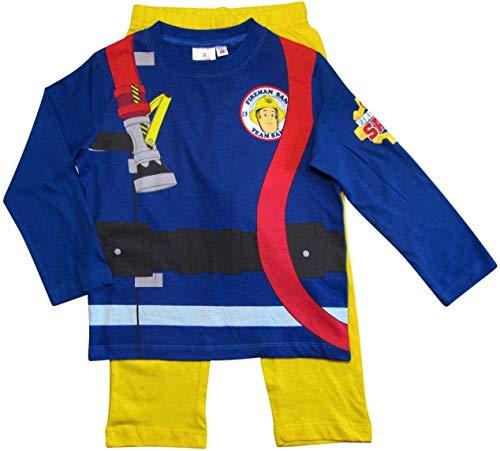 Feuerwehrmann Sam Schlafanzug Jungen Lang Pyjama (Blau-Gelb, 104-110)