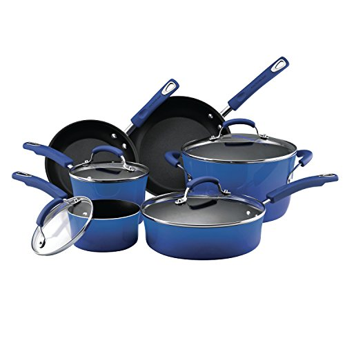 Rachael Ray 10-Piece Non-Stick Cookware Set, Set of 10, Blue