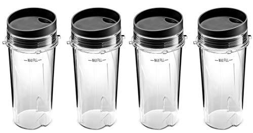 Ninja Single Serve 473 ml Mixer Cups Set für BL770 BL780 BL660 Professional Blender (4 Stück)