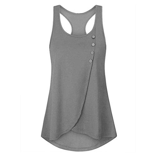 OSYARD Damen Sommer Solide Knopf Shirt Sleeveless Weste Tank Casual Tops Bluse(EU 46/XL, Grau)