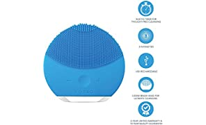 FOREO LUNA mini 2 Facial Cleansing Brush and Anti-aging Skin Care device made with Soft Silicone for Every Skin Type, Aquamarine, USB Rechargeable