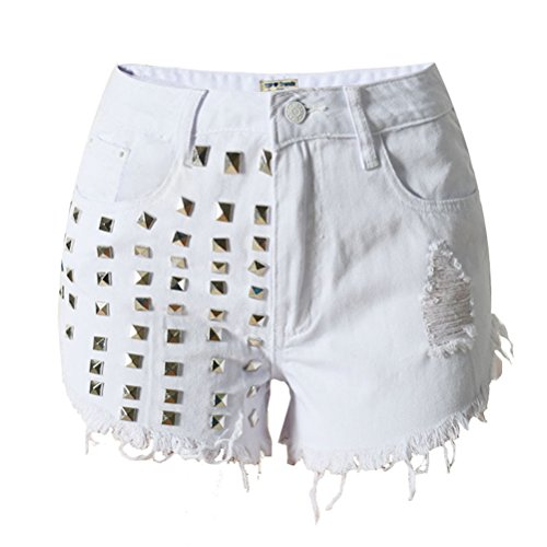 Laixing Qualität Fashion Summer Womens Distressed Ripped Denim Square Studded Shorts SL009