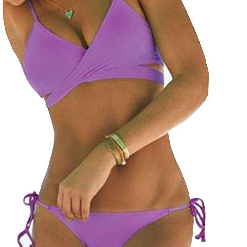 TYHHK Donne Incrociato Bendare Triangolo Bikini Costume da bagno Viola