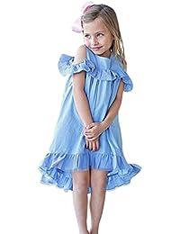 63ba534ee84a2 ADESHOP Mode Fille Robe Enfants Filles Couleur Pure Col Rond Volant ÉLéGant  Robe De SoiréE Filles