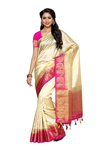 Mimosa By Kupinda Tusser Art Silk Saree Kanjivaram Style Color:Off White(4002-187-2D-HWT-RNI)  available at amazon for Rs.1299
