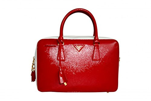 Prada , Damen Tote-Tasche Rot Bianco Rosso Sa (Leder Tote Prada Tasche)
